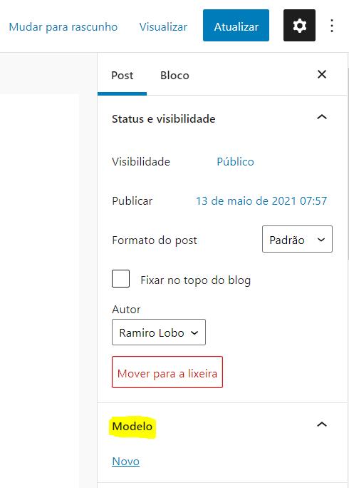Criando modelos de páginas e posts no WordPress com o editor de blocos 1